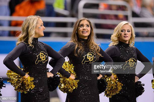 Colorado Buffaloes cheerleaders look on during the Valero Alamo Bowl between the Colorado Buffaloes and Oklahoma State Cowboys on December 29 at the...