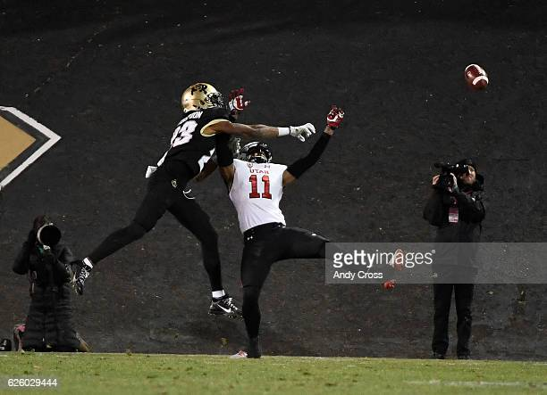 Colorado Buffaloes defensive back Ahkello Witherspoon breaks up a pass intended for Utah Utes wide receiver Raelon Singleton near the end zone in the...