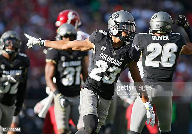 Colorado Buffaloes Defensive Back Ahkello Witherspoon celebrates after a stop during a Pac12 conference matchup between the Colorado Buffaloes and...