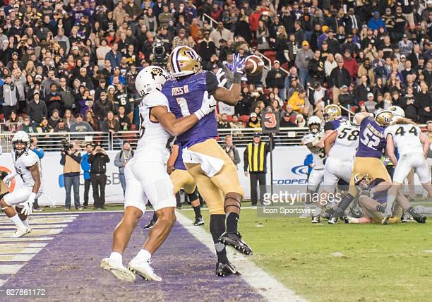 Colorado Buffaloes defensive back Ahkello Witherspoon keeps Washington Huskies wide receiver John Ross out of the end zone during the Pac12...