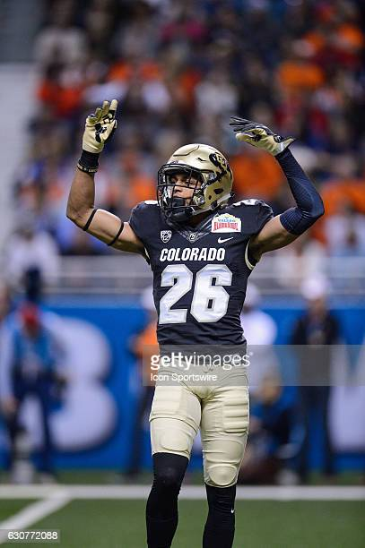 Colorado Buffaloes defensive back Isaiah Oliver pumps up the crowd during the Valero Alamo Bowl between the Colorado Buffaloes and Oklahoma State...