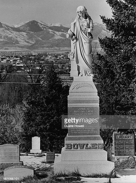NOV 25 1979 Colorado 'cannibal' Alfred Packer's headstone has been stolen twice Statue atop the Bowles family monument at Littleton Cemetery is...