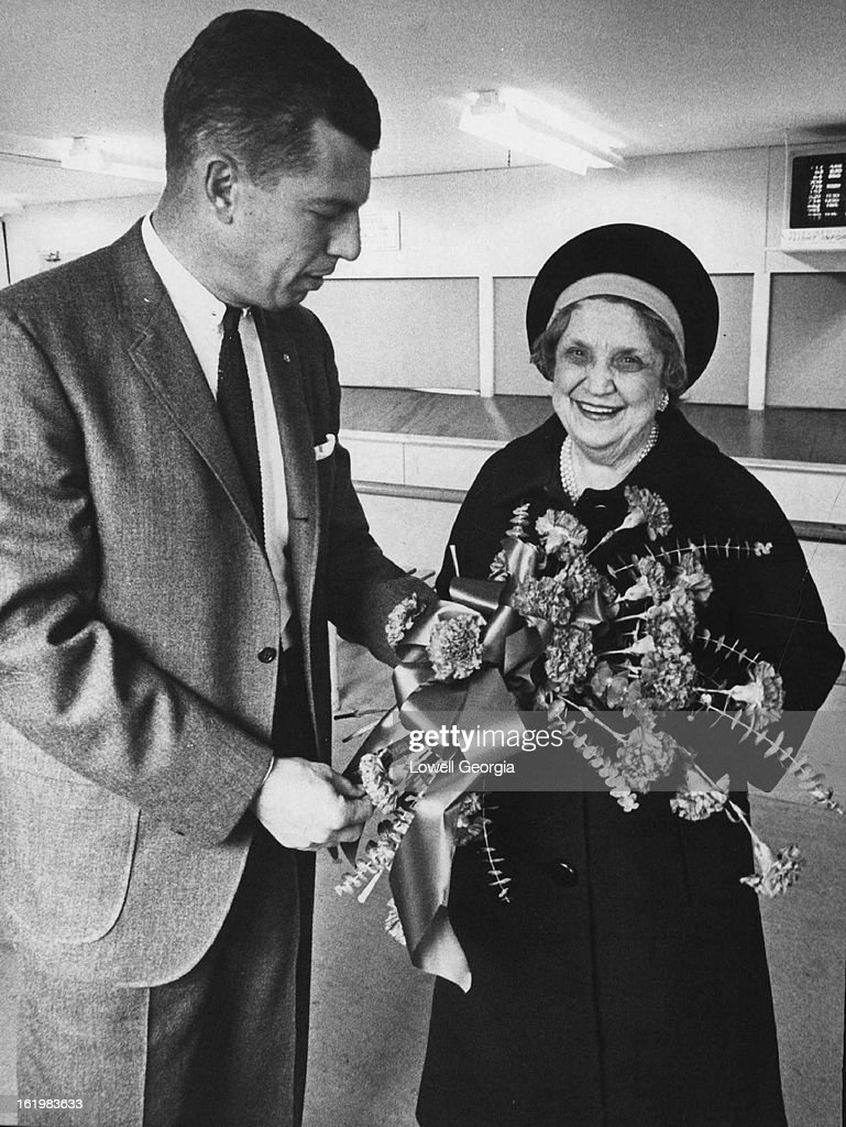 NOV 7 1963, NOV 13 1963, FEB 23 1964; Colorado Carnations for Perle Mesta; Shelby Harper, Chamber of Commerce manager, presents flowers to the famous party giver at Stapleton Field.;