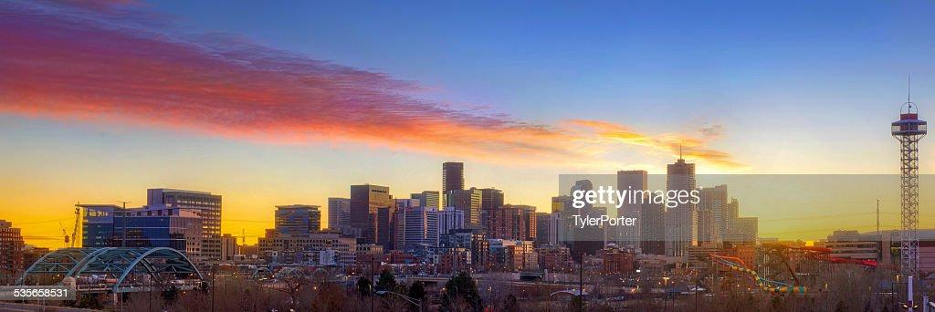 USA, Colorado, Denver, Downtown skyline at sunrise