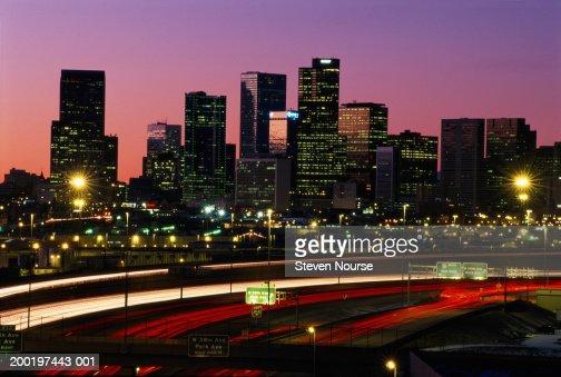 USA, Colorado, Denver skyline, dusk (long exposure) : Stock Photo
