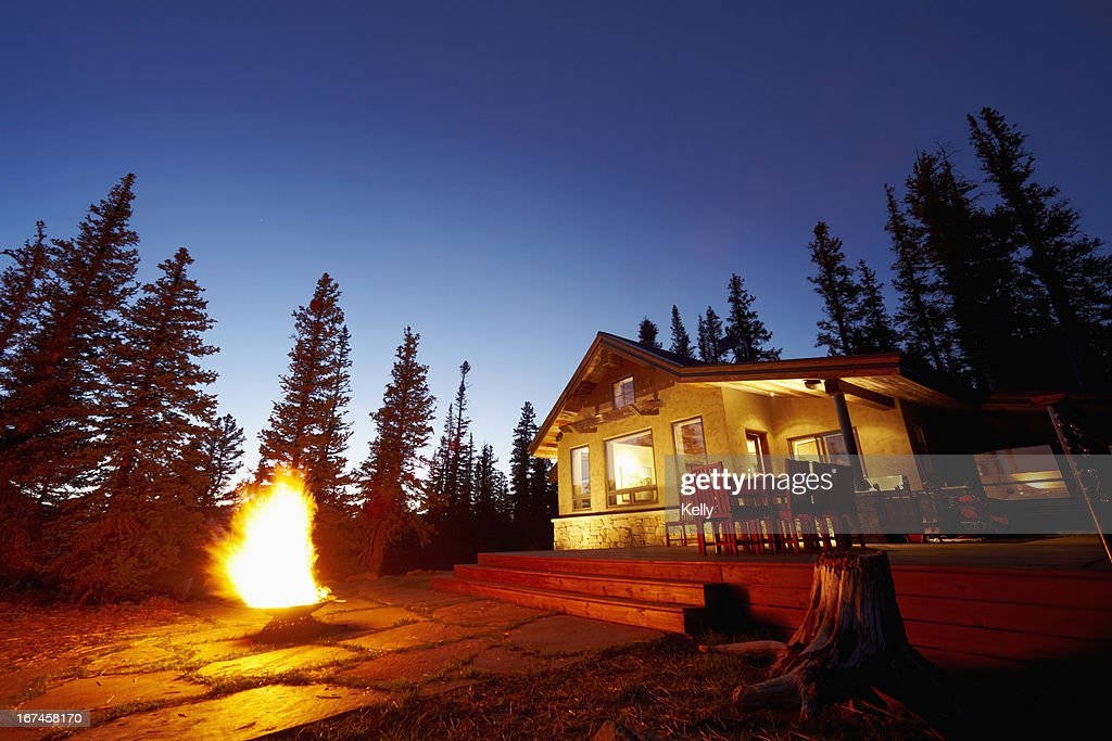 USA, Colorado, Fire pit in front of house : Stock Photo