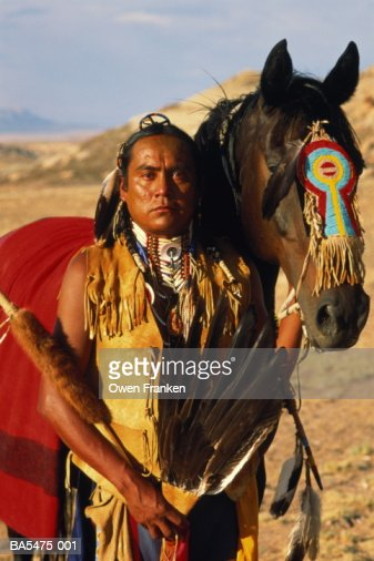 USA, Colorado, Four Corners Monument, Shawnee tribesman : Stock Photo