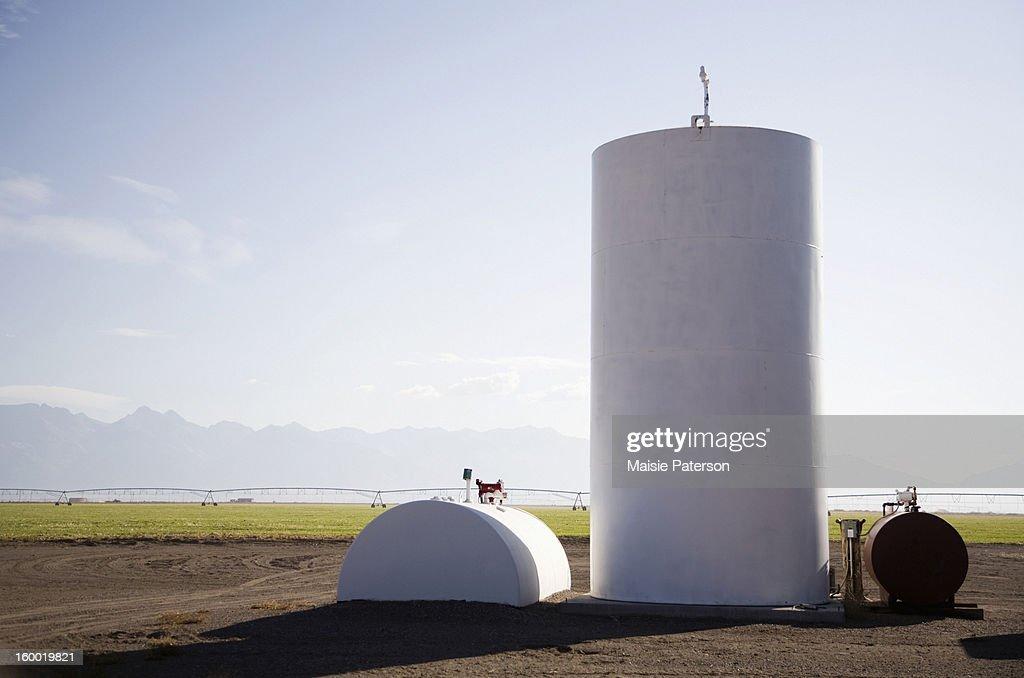 USA, Colorado, Fuel tanks on farm