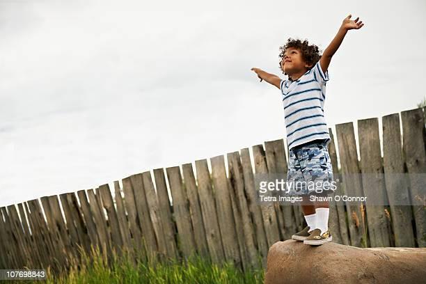 USA, Colorado, Glenwood Springs, Boy (2-3) playing with toy aeroplane