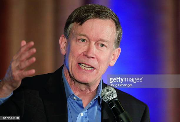 Colorado Gov John Hickenlooper addresses the audience at the Colorado Energy Forum presented by the Consumer Energy Alliance on October 14 2014 in...
