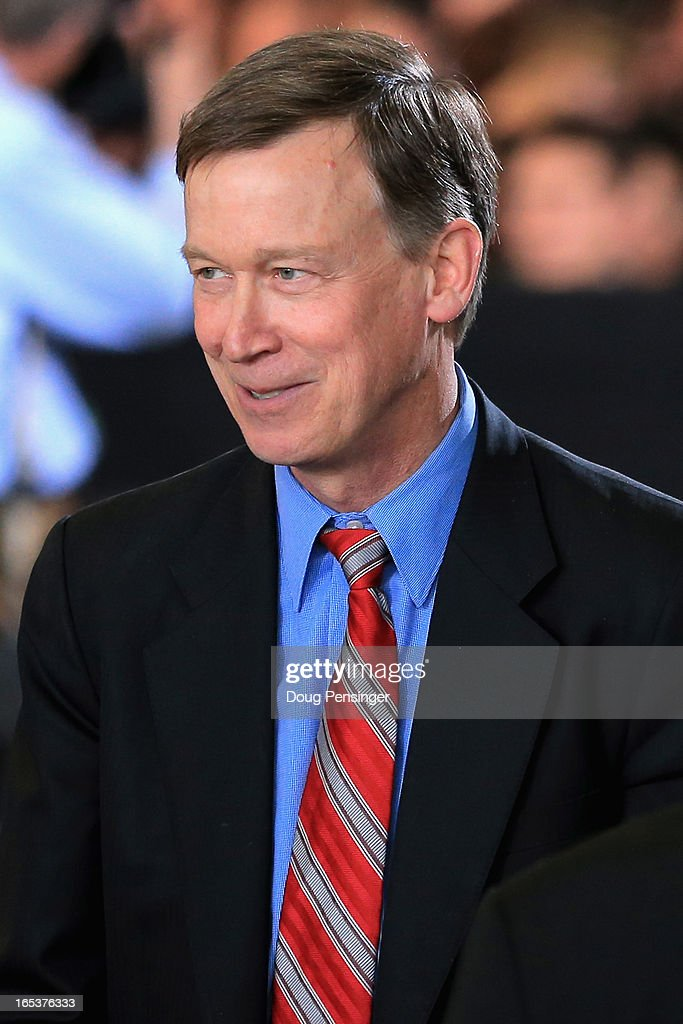 Colorado Gov. <a gi-track='captionPersonalityLinkClicked' href=/galleries/search?phrase=John+Hickenlooper&family=editorial&specificpeople=4104050 ng-click='$event.stopPropagation()'>John Hickenlooper</a> attends a speech by U.S. President Barack Obama addressing gun control issues at the Denver Police Academy on April 3, 2013 in Denver, Colorado. Obama commended Colorado's newly passed gun control laws.