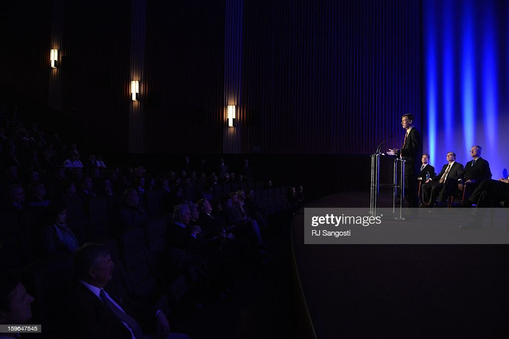 Colorado Gov. John Hickenlooper speaks at the reopening and remembrance in Theater I, the remodeled theater 9 of the Century Aurora Theater. James Holmes is accused of killing 12 people and wounding 70 others on July 20, 2012 in theater 9.