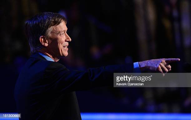 Colorado Gov John Hickenlooper speaks during day two of the Democratic National Convention at Time Warner Cable Arena on September 5 2012 in...