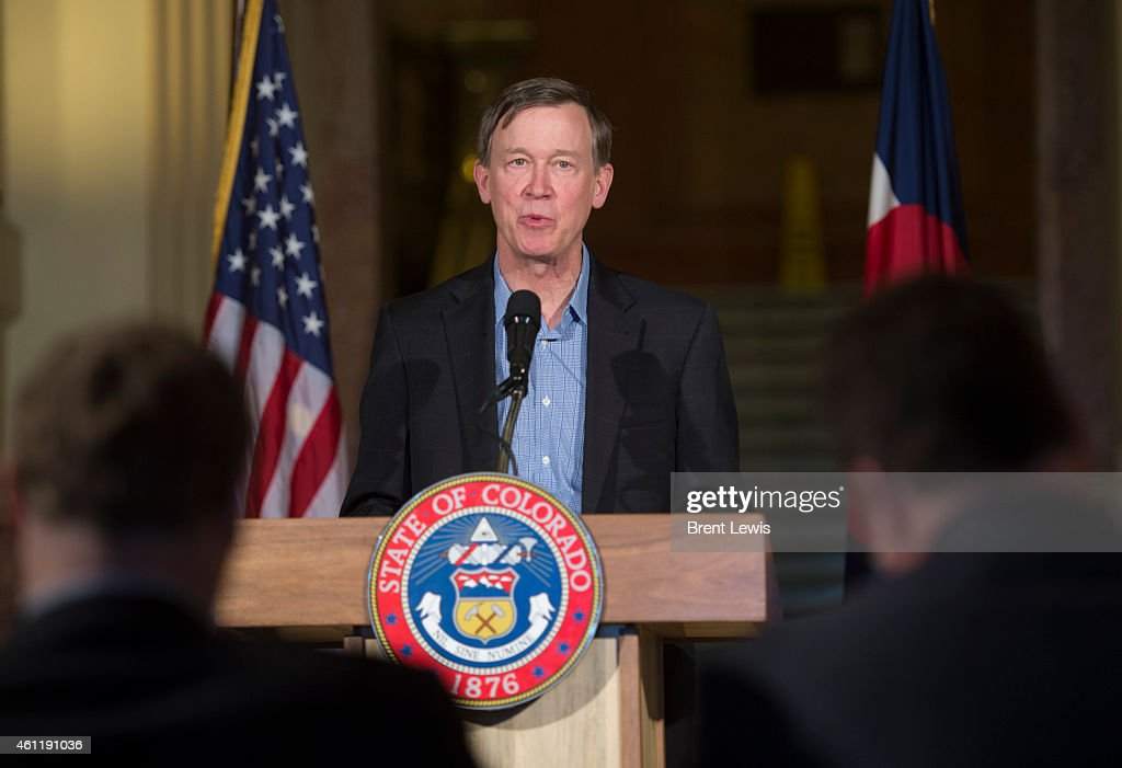 Colorado governor <a gi-track='captionPersonalityLinkClicked' href=/galleries/search?phrase=John+Hickenlooper&family=editorial&specificpeople=4104050 ng-click='$event.stopPropagation()'>John Hickenlooper</a> discusses the state's plan to help get the long-term unemployed back to work Thursday, January 8, 2015 at Colorado State Capitol in Denver, Colorado. Governor Hickenlooper announced a program to help long-term unemployed people get back to work by assisting them with retraining and support services to allow them to compete in the job market again.