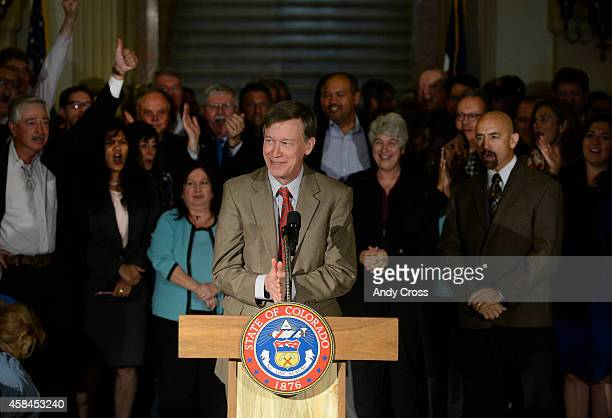 Colorado Governor John Hickenlooper gives his reelection acceptance speech winning over Republican challenger Bob Beauprez in the foyer of the...