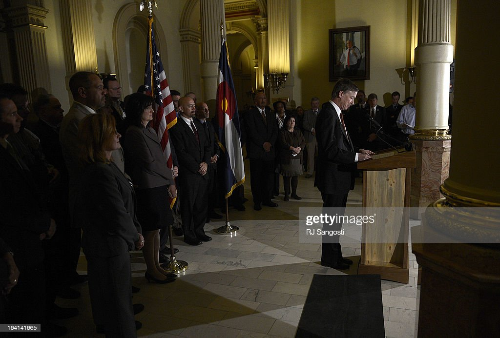 Colorado Governor John Hickenlooper holds a press conference at the State House in Denver, Colorado on March 20, 2013 to discuss the death of Tom Clements, executive director of the Colorado Department of Corrections. Clements was shot and killed in his Monument, Colorado home on Tuesday, March 19, 2013.