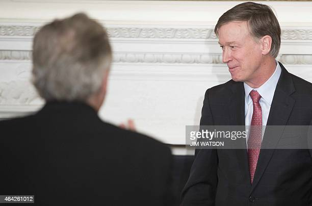 Colorado Governor John Hickenlooper speaks during a meeting of the National Governors Association at the White House in Washington DC February 23...