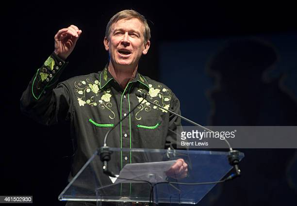 Colorado governor John Hickenlooper thanks all of his supporters from the campaign Tuesday January 13 2015 at the Fillmore Auditorium in Denver...