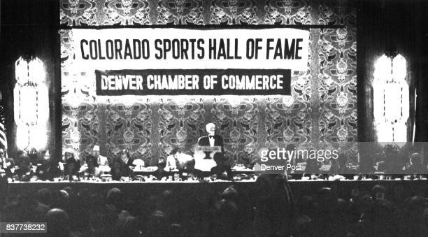 Colorado Hall of Fame banquet held at Denver Hilton Hotel attracted 1500 Larry Varnell Hall President is making opening remarks Credit Denver Post