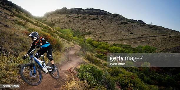 USA, Colorado, Jefferson County, Golden, Mountain biker rides down leaving cloud of dust