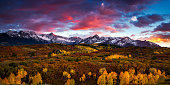 Vibrant skies at sunset over the Dallas Divide in Colorado's San Juan Mountains