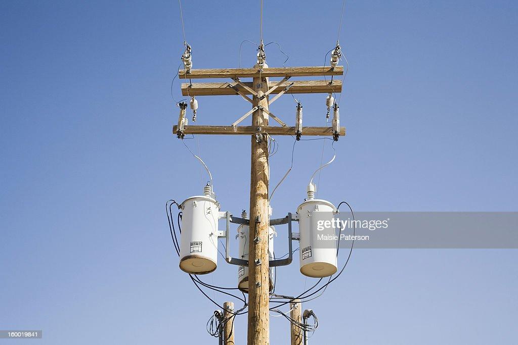 USA, Colorado, Power lines and transformer
