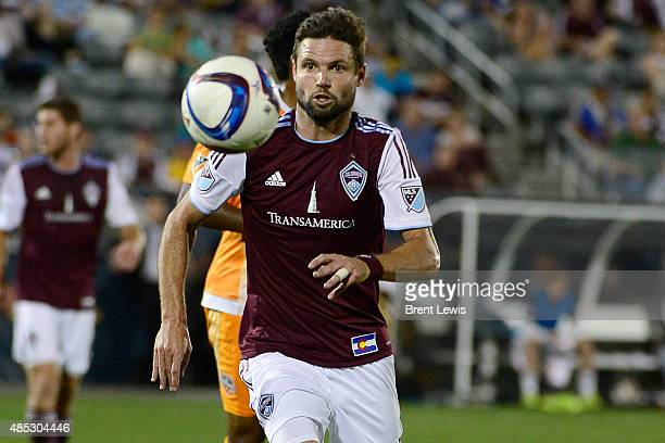 Colorado Rapids defender Drew Moor tries to regain control of a loose ball during the second half August 26 2015 at Dick's Sporting Goods Park The...