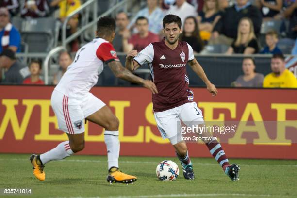Colorado Rapids defender Eric Miller dribbles the ball during the Colorado Rapids game vs the DC United on August 19 2017 at Dick's Sporting Goods...