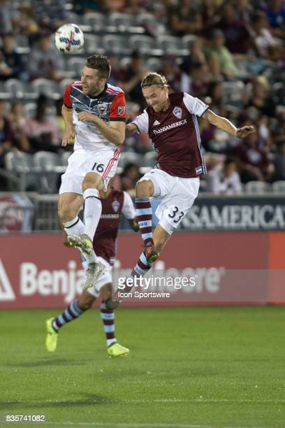 Colorado Rapids defender Jared Watts and DC United forward Patrick Mullins attempt to head the ball during the Colorado Rapids game vs the DC United...