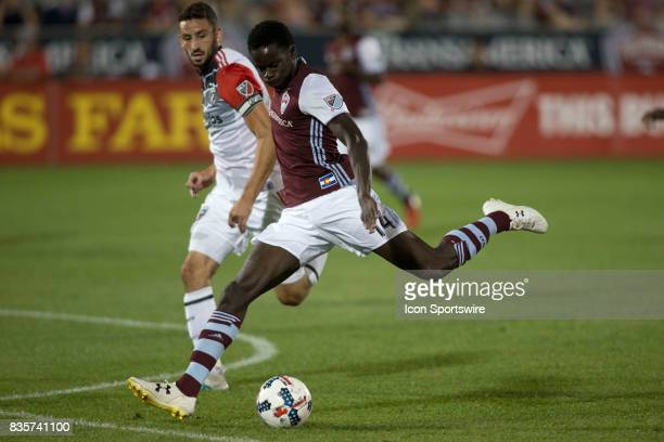 Colorado Rapids forward Dominique Badji takes a shot on goal during the Colorado Rapids game vs the DC United on August 19 2017 at Dick's Sporting...