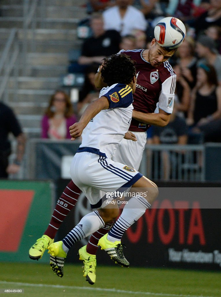 Colorado Rapids forward Luis Solignac #21 and Real Salt Lake defender Tony Beltran #2 go after the ball in the second half at Dick's Sporting Goods Park July 11, 2015.
