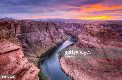 Colorado River, Horseshoe Bend at Sunset : Stock Photo