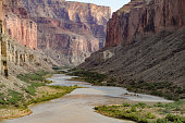A rare straight stretch of the Colorado River in Grand Canyon National Park is found just south of Nankoweep