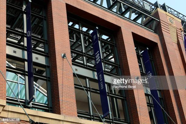 Colorado Rockies '1995 National League Wild Card Banner' banner hangs outside Coors Field home of the Colorado Rockies baseball team in Denver...