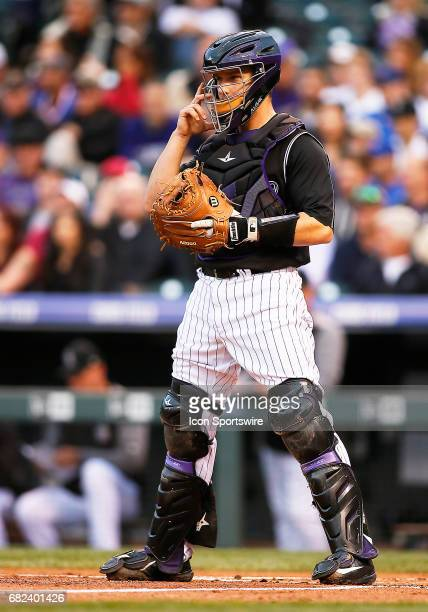 Colorado Rockies Catcher Dustin Garneau during a regular season MLB game between the Colorado Rockies and the visiting Chicago Cubs on May 9 2017 at...