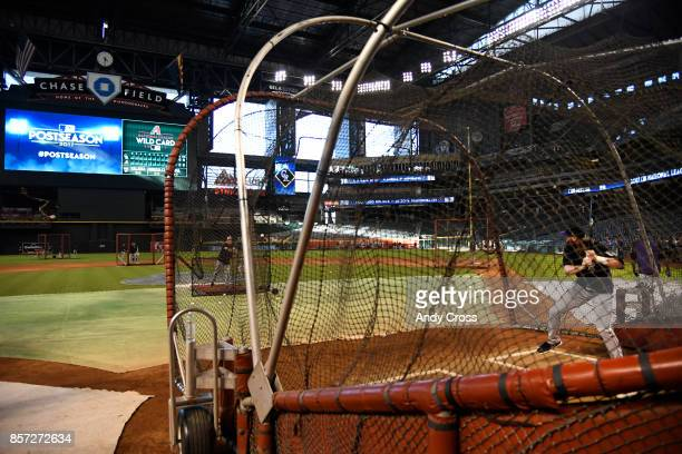 Colorado Rockies center fielder Charlie Blackmon in the cage during batting practice at Chase Field October 03 2017 The Colorado Rockies will play...