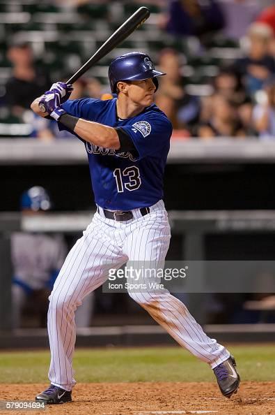 Colorado Rockies center fielder Drew Stubbs bats during a regular season Major League Baseball interleague game between the Texas Rangers and the...