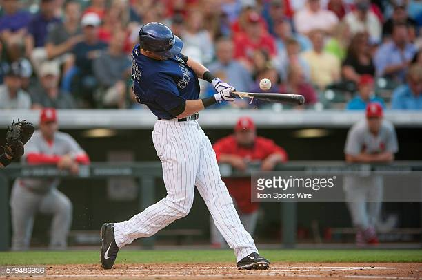 Colorado Rockies center fielder Drew Stubbs breaks his bat during a regular season Major League Baseball game between the St Louis Cardinals and the...