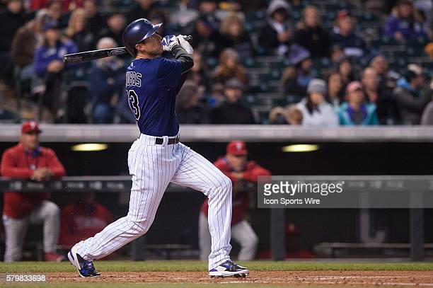 Colorado Rockies center fielder Drew Stubbs doubles during a regular season Major League Baseball game between the Philadelphia Phillies and the...