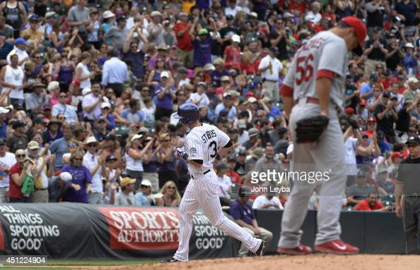 Colorado Rockies center fielder Drew Stubbs rounds third base after hitting a home run int he fourth inning off of St Louis Cardinals starting...
