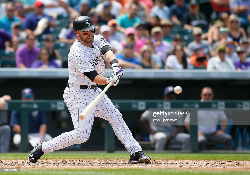 Colorado Rockies Infielder, Mark Reynolds (12) bats during a regular season MLB game between the Colorado Rockies and the visiting Milwaukee Brewers on August 20, 2017 at Coors Field in Denver, CO.