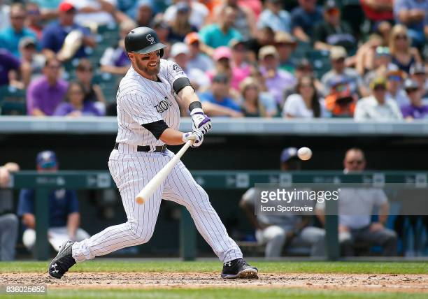 Colorado Rockies Infielder Mark Reynolds bats during a regular season MLB game between the Colorado Rockies and the visiting Milwaukee Brewers on...