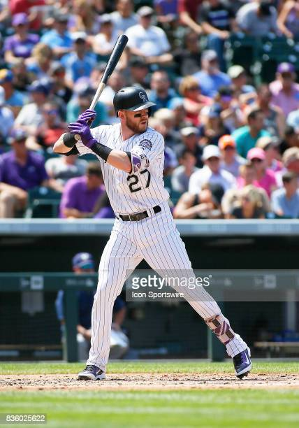 Colorado Rockies Infielder Trevor Story bats during a regular season MLB game between the Colorado Rockies and the visiting Milwaukee Brewers on...