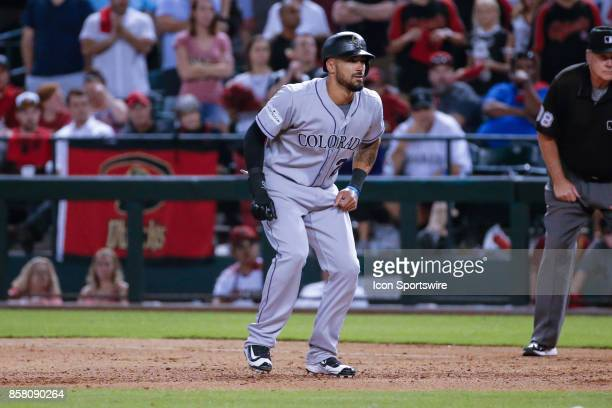 Colorado Rockies left fielder Ian Desmond takes a lead off of first base during the MLB National League Wild Card baseball game between the Colorado...