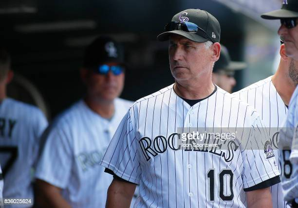 Colorado Rockies Manager Bud Black waits in the dugout during a regular season MLB game between the Colorado Rockies and the visiting Milwaukee...