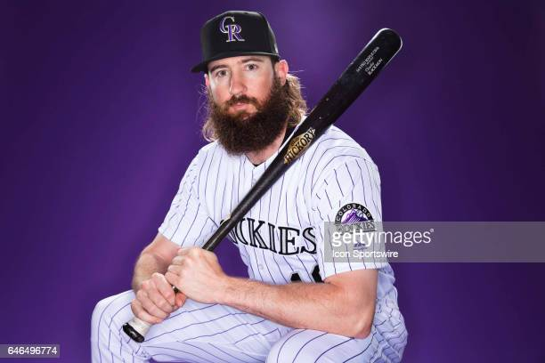 Colorado Rockies outfielder Charlie Blackmon poses for a photo during the Colorado Rockies photo day on Feb 23 2017 at Salt River Fields at Talking...
