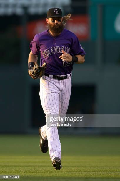 Colorado Rockies outfielder Charlie Blackmon runs off the field during the Colorado Rockies game vs the Milwaukee Brewers on August 18 2017 at Coors...