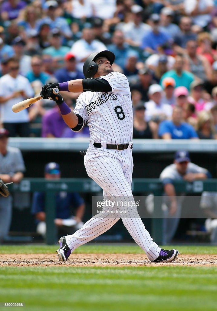 Colorado Rockies Outfielder, Gerardo Parra (8) bats during a regular season MLB game between the Colorado Rockies and the visiting Milwaukee Brewers on August 20, 2017 at Coors Field in Denver, CO.