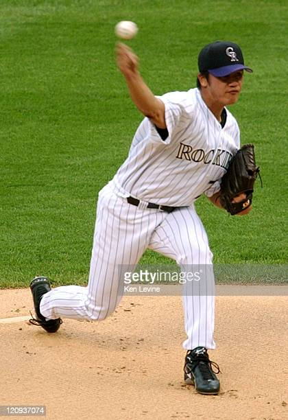 Colorado Rockies pitcher Chinhui Tsao pitches against the Atlanta Braves Saturday Aug 23 2003 at Coors Field in Denver Atlanta beat out the Rockies...