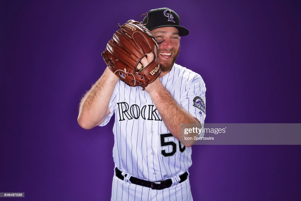 Colorado Rockies pitcher Greg Holland #56 poses for a photo during the Colorado Rockies photo day on Feb. 23, 2017 at Salt River Fields at Talking Stick in Scottsdale, Ariz.